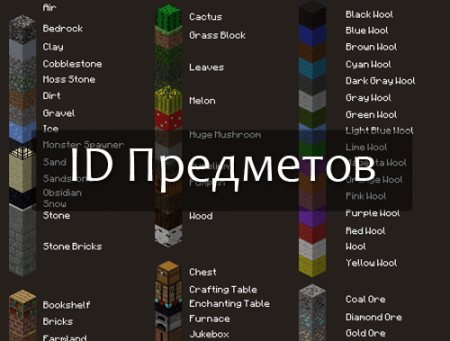 ID предметов в Minecraft