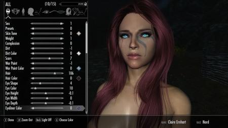 Улучшенное меню создание персонажа для Skyrim