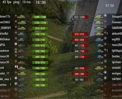 ХП танков возле иконок в ушах для WOT 1.7